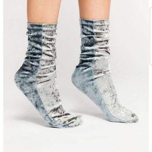 Free People Colorblock Velvet Socks Gray